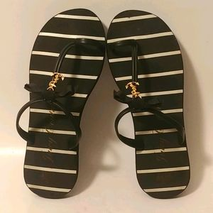Juicy Couture Black White Striped FlipFlops 8.5?